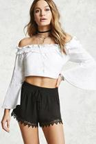 Forever21 Lace Embroidered Smocked Shorts