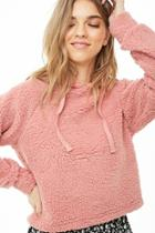 Forever21 Faux Shearling Drawstring Hoodie