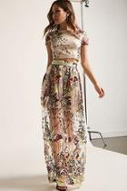 Forever21 Sheer Mesh Floral Embroidered Crop Top & Maxi Skirt Set