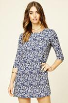 Love21 Women's  Navy & Cream Contemporary Shift Dress