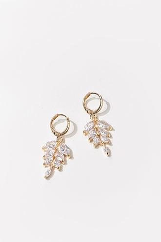 Forever21 Rhinestone Leaf Hoop Drop Earrings