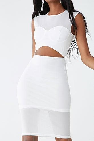 Forever21 Mesh Bustier-inspired Cutout Dress