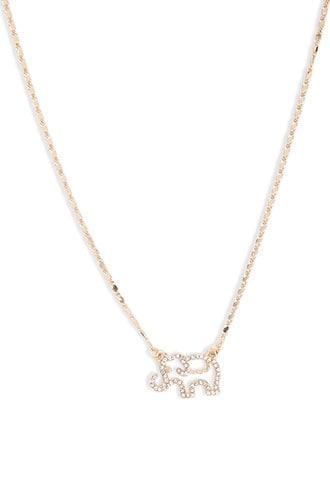 Forever21 Rhinestone Elephant Pendant Chain Necklace