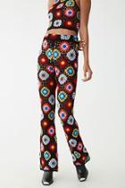 Forever21 Crochet Floral Flare Pants