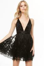 Forever21 Plunging Floral Tulle Dress