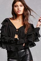 Forever21 Sheer Ruffle Top