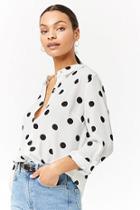 Forever21 Semi-sheer Polka Dot Shirt