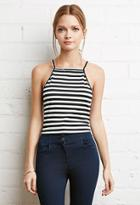 Forever21 Cropped Stripe Halter Top