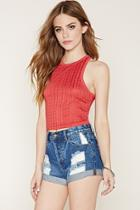 Forever21 Women's  Red Abstract Crochet Crop Top