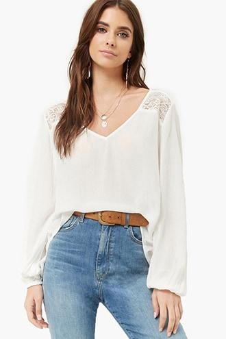 Forever21 Sheer Crinkled High-low Lace Panel Top