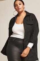 Forever21 Plus Size Longline Distressed Denim Jacket