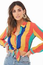 Forever21 Rainbow Striped Cropped Shirt