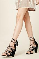 Forever21 Faux Suede Fringed Heels