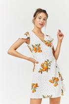 Forever21 Orange Floral Polka Dot Surplice Dress