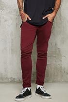 21 Men Men's  Burgundy Slim-fit Jeans