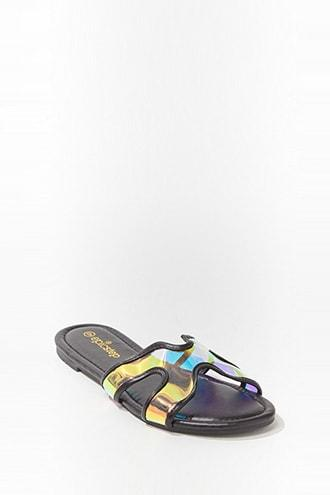 Forever21 Faux Leather Iridescent Sandals