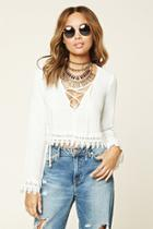 Forever21 Women's  Ivory Crochet Lace-up Crop Top