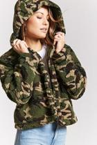 Forever21 Camo Print Faux Fur Jacket
