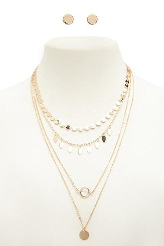 Forever21 High-polish Layered Necklace & Stud Earrings Set
