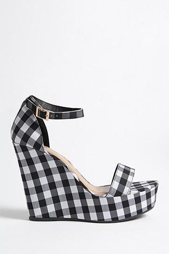 Forever21 Gingham Ankle-strap Wedges
