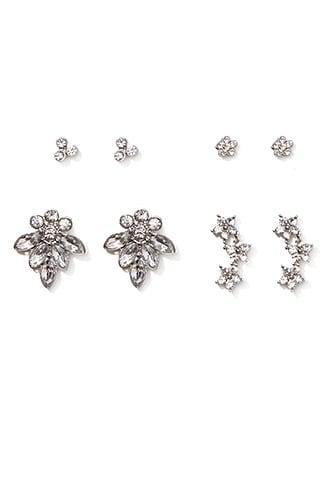 Forever21 Diamante Cluster Stud Set