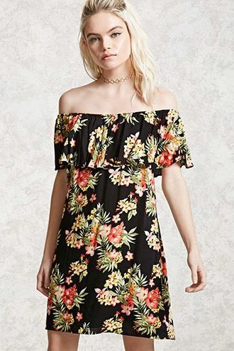 Forever21 Off-the-shoulder Floral Dress