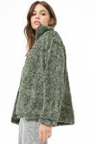 Forever21 Marled Faux Fur Zip-front Jacket