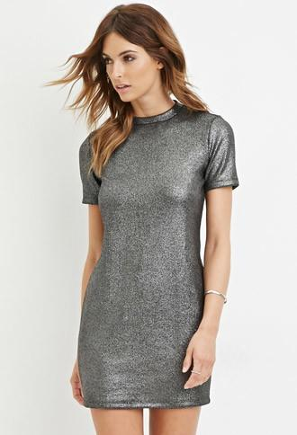 Love21 Women's  Silver & Black Contemporary Metallic Sheath Dress