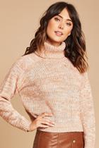 Love21 Women's  Mauve & Ivory Contemporary Turtleneck Sweater