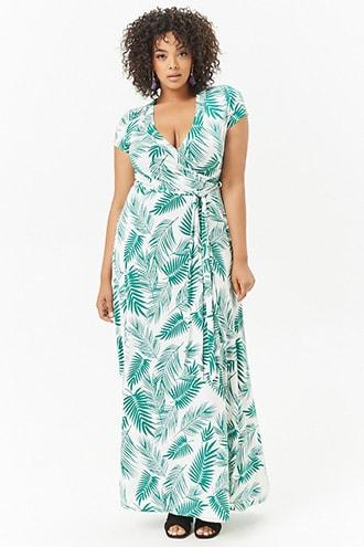 Forever21 Plus Size Palm Leaf Print Maxi Dress