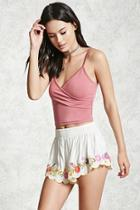 Forever21 Floral Embroidered Shorts