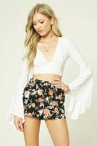 Forever21 Floral Print Smocked Shorts