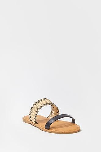 Forever21 Faux Leather & Basketweave Sandals