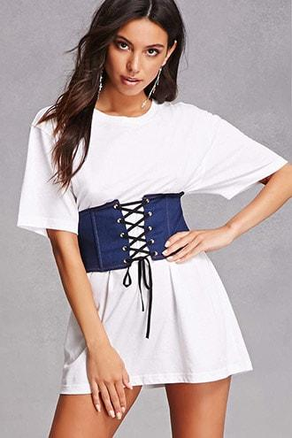 Forever21 Lace-up Denim Corset
