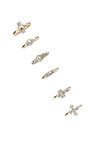 Forever21 Rhinestone Cluster Ring Set