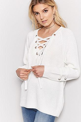 Forever21 Oversized Ribbed Knit Lace-up Sweater