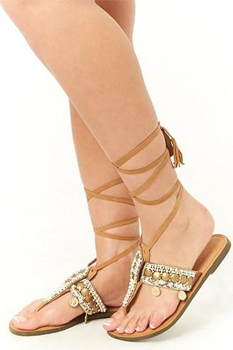 Forever21 Beaded Leather Ankle-wrap Sandals