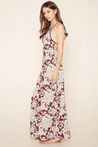 Love21 Women's  Wine & Sage Contemporary Floral Maxi Dress