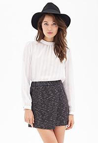 Forever21 Faux Leather & Tweed Skirt