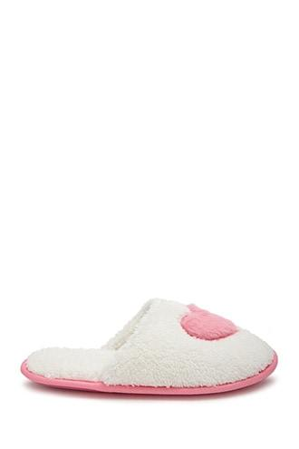 Forever21 Faux Fur Heart Graphic Slippers