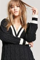 Forever21 Stripe Cable Knit Sweater
