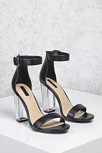 Forever21 Lucite Ankle-strap Heels
