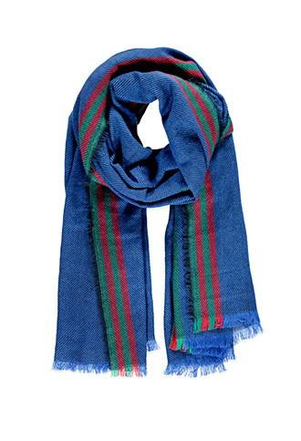 Forever21 Frayed Stripe-patterned Scarf (royal/red)