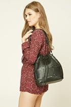 Forever21 Faux Leather Cutout Bucket Bag