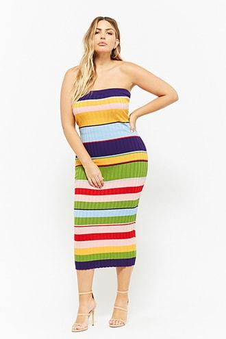 Forever21 Plus Size Ribbed Multicolor Striped Maxi Tube Dress