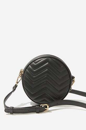 Forever21 Faux Leather Round Quilted Crossbody