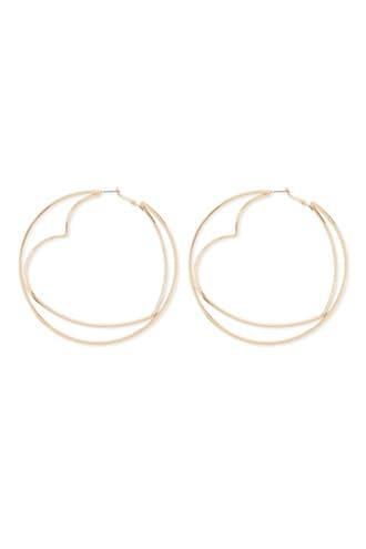 Forever21 Oversized Circle & Heart Hoop Earrings