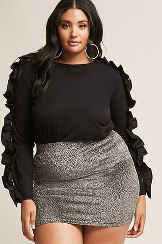 Forever21 Plus Size Ruffle-sleeve Knit Top
