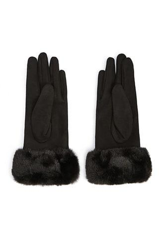 Forever21 Faux Fur-trim Finger Gloves