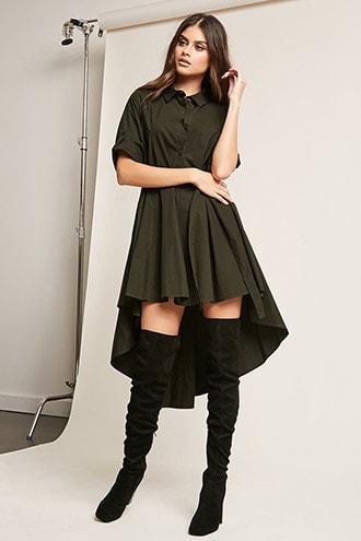 Forever21 High-low Poplin Shirt Dress